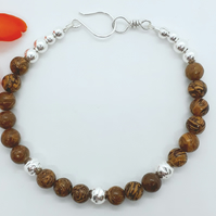 Cobra Jasper and Silver Bead Bracelet