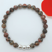 Leopardskin Jasper and Silver Bead Bracelet