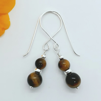 Tigers eye and Silver Bead Earrings