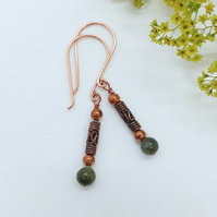 Jade and Copper Bead Earrings