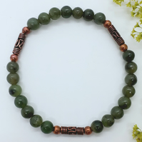 Jade and Copper Bead Bracelet
