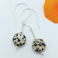 Dalmation Jasper and Silver Bead Earrings