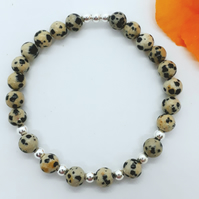 Dalmation Jasper and Silver Bead Bracelet