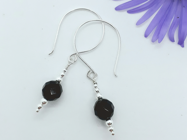 Black Onyx Faceted Bead Earrings