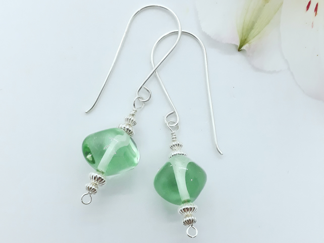 'Green Ice' Lampwork Glass and Silver Bead Earrings