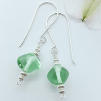 'Green Ice' Lampwork and Silver Bead Earrings