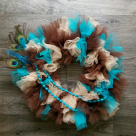 Peacock Wreath - Brown and Teal Home Decoration
