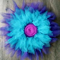 Purple and blue flower wreath