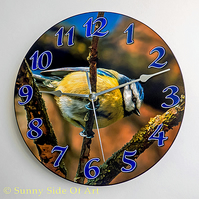Blue Tit Clock - With Super-silent Quartz Movement