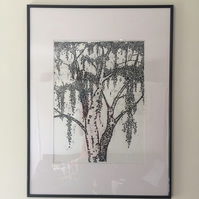 The Silver Birch Woodcut Print