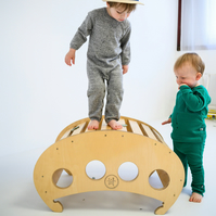 Natural Hellix Mini. Contemporary Rocking Toy. Handcrafted in UK. CE. Free P&P