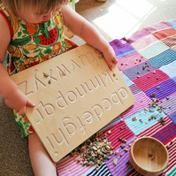 Wooden Alphabet Tracing Toy. In Lowercase Letters and sign language reverse. CE