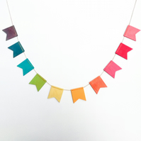 Wooden Rainbow Bunting. 2m length. Handmade in Britain