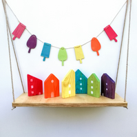 Wooden Rainbow Bunting - lollypops shapes - 1m length Garland - Handmade in UK