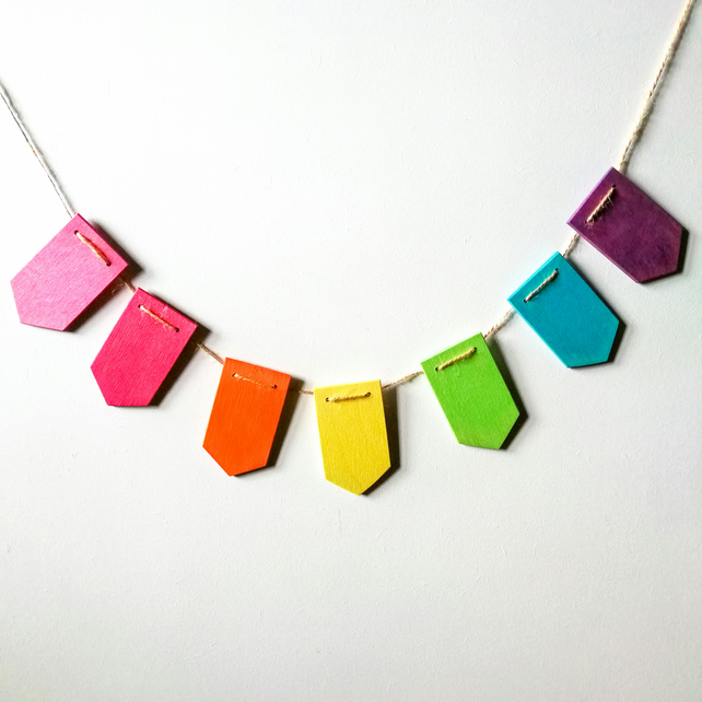 Wooden Rainbow Bunting - Tag Shaped Garland - 1m length - Handmade in Britain