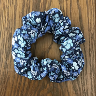 Blue Floral Hair Scrunchie  Hairband