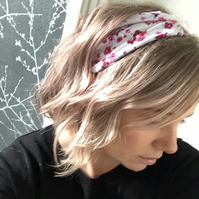 Pink and White Floral Stretch Headband