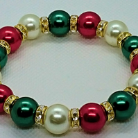 Red Green & White glass Pearl Bracelet