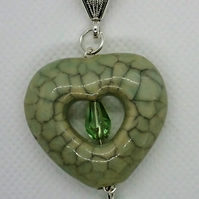 Green Crackle Glazed Stone Heart Pendant Necklace