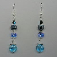 Blue glass faceted ball beaded earrings