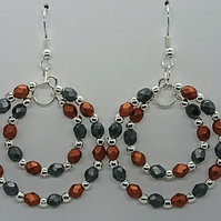 fire polished Haematite & dark copper coloured glass beaded double hoop earrings