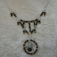 black and brown tibetan silver spider pendant necklace