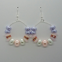 Pale pink and lilac beaded hoop earrings