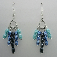 Blue glass pearl rice bead earrings