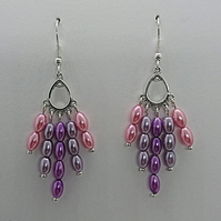 Lilac and Pink glass pearl rice bead earrings