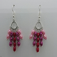 Pink, Purple and Red glass pearl rice bead earrings