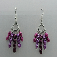 Purple glass pearl rice bead earrings