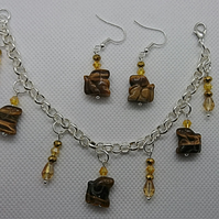 Tiger Eye Stone Dog Themed Silver Plated Charm Bracelet & Earrings Set