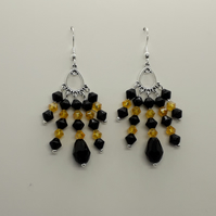 Black & Yellow Bi-cone & Faceted Drop Bead Dangle Earrings