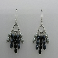 Grey glass pearl rice bead earrings