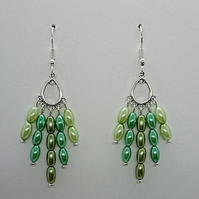 Green glass pearl rice bead earrings