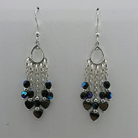 Blue black fire polished glass & haematite heart chain dangle earrings