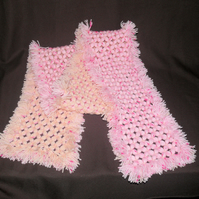 Gorgeous Soft 64 Inch Long Hand-Crafted Pink & Cream Fringed Scarf