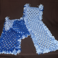 Gorgeous Soft 65 Inch Long Hand-Crafted Light Blue & Dark Blue Fringed Scarf