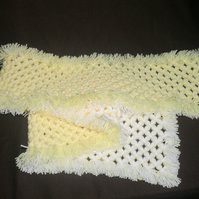 Gorgeous Soft 64 Inch Long Hand-Crafted Yellow & White Fringed Scarf