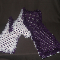 Gorgeous Soft 64 Inch Long Hand-Crafted Dark Purple & Pink Fringed Scarf