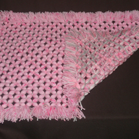 Gorgeous Soft Hand-Crafted Pink and Multi-Coloured Pram Blanket