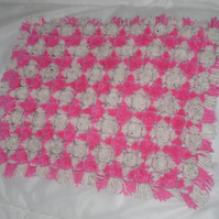 Gorgeous Soft Hand-Crafted Pink and White Pom-Pom Pram Blanket
