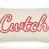 Welsh CWTCH Cushion 50cm x 30cm bolster size filled in cream and red