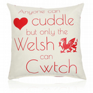 Only the Welsh Can Cwtch 40cm Cushion hollowfibre filled Cream and Red