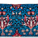 Blue Velvet Feel William Morris Craft Style Bolster Cushion 50cm x 30cm