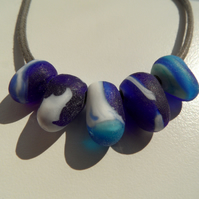 Blue and withe Sea glass necklace