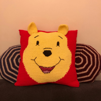 Winnie the Pooh crocheted pillow cover
