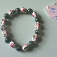 Childrens Green moss agate and cloisonne bracelet