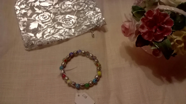 Childrens Millefiori and Tibetan silver bead bracelet