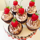 Set 4 Fake strawberry cupcakes